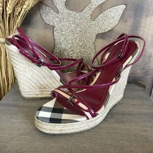 Burberry Red Patent Leather Espadrille Wedge Sanda